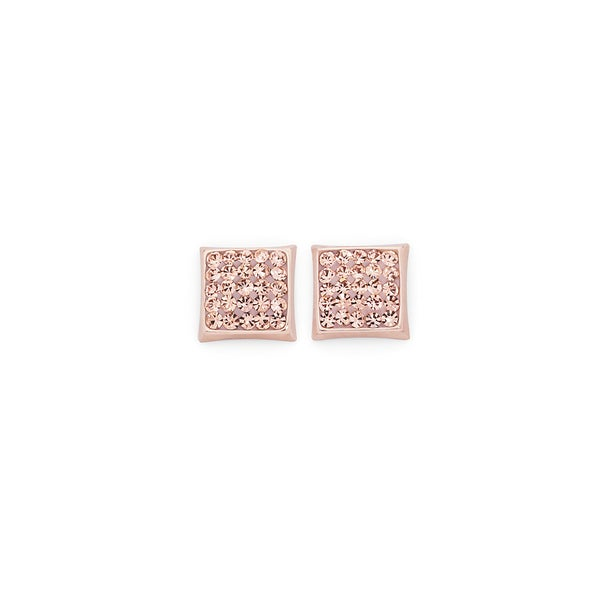 9ct Rose Gold Peach Crystal Square Stud Earrings