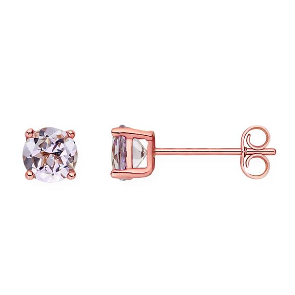 9ct Rose Gold Pink Amethyst Stud Earrings