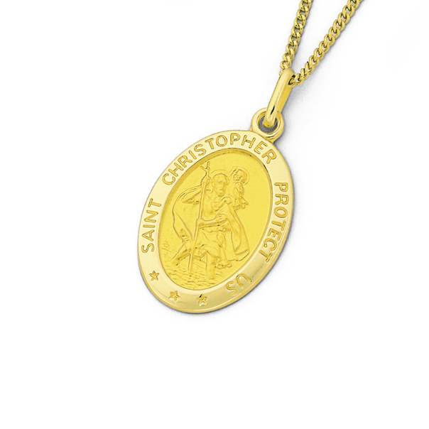 9ct St. Christopher Oval Pendant