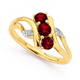 9ct Synthetic Ruby & Diamond Twst Ring