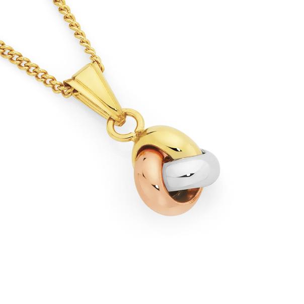 9ct Tri Tone Gold Knot Pendant