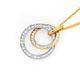 9ct Two Tone CZ Circle Pendant