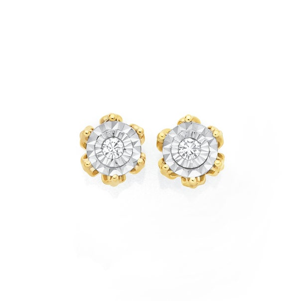 9ct Two Tone Gold Diamond 6 Claw Stud Earrings