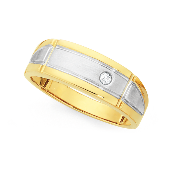 9ct Two Tone Gold Diamond Set Gents Ring