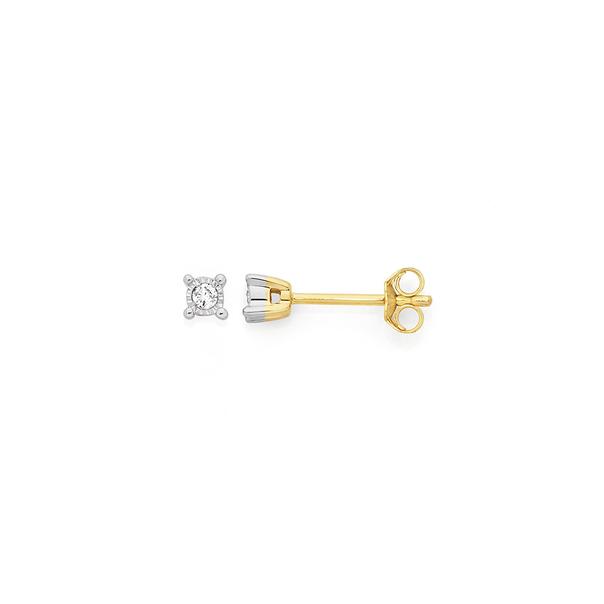 9ct Two Tone Gold Diamond Stud Earrings
