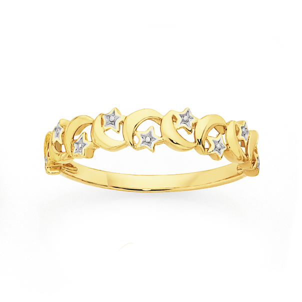 9ct Two Tone Gold Moon & Stars Dress Ring