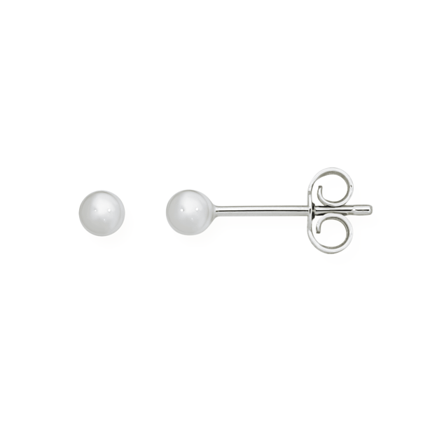 9ct White Gold 3mm Polished Ball Stud Earrings