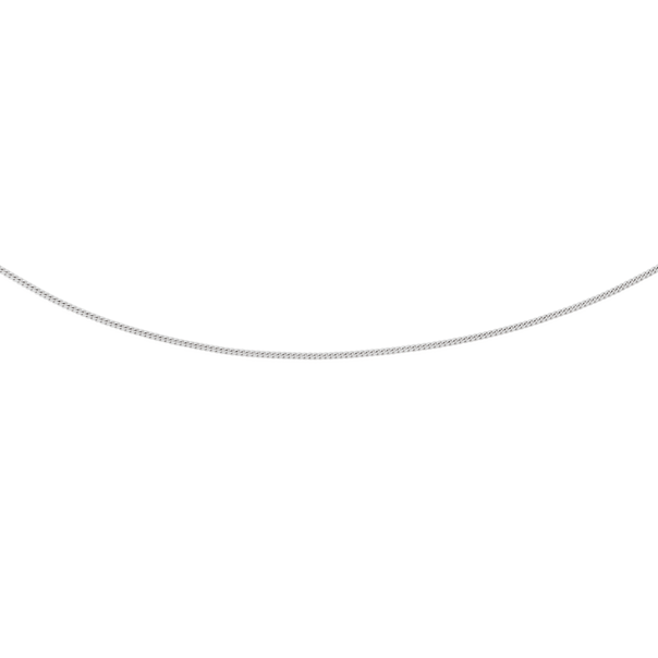 9ct White Gold 45cm Solid Curb Chain
