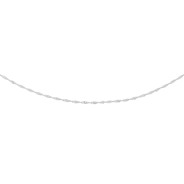 9ct White Gold 45cm Solid Singapore Chain