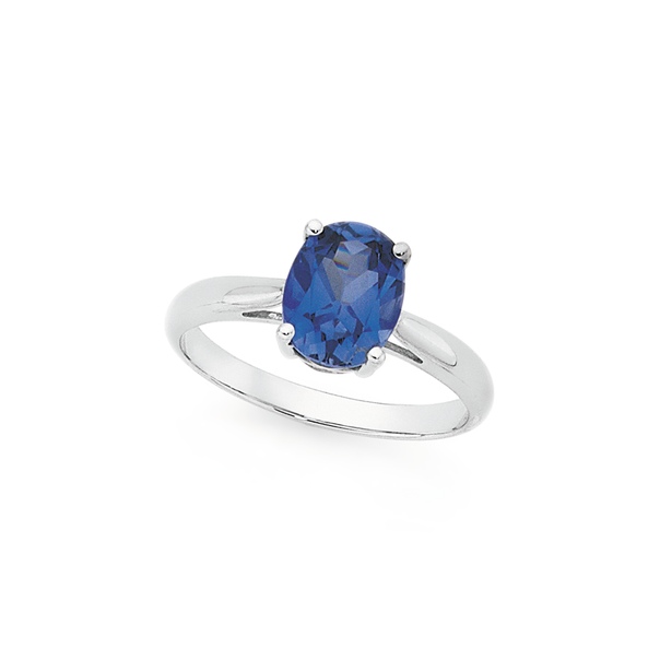 9ct White Gold Created Ceylon Sapphire Solitaire Ring
