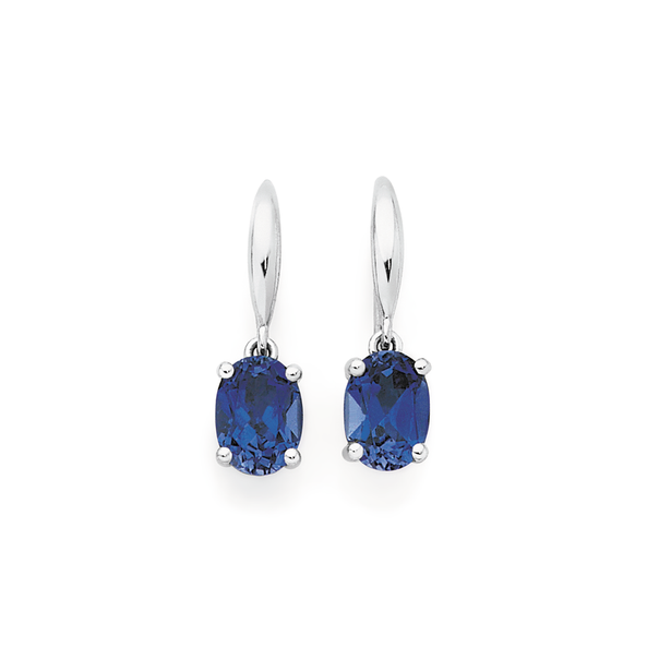 9ct White Gold Created Sapphire Earrings