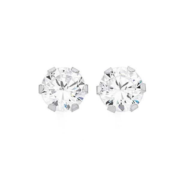 9ct White Gold CZ 5mm Round Stud Earrings