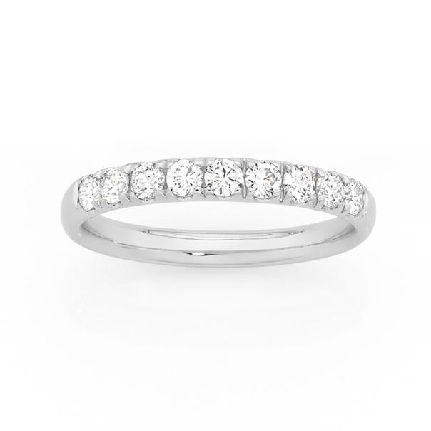 9ct White Gold & Diamond Anniversary Ring