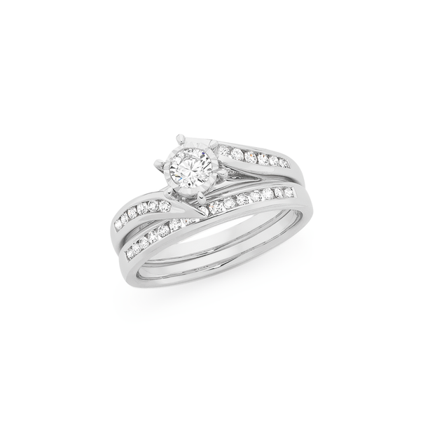 9ct White Gold Diamond Bridal Set