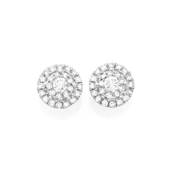 9ct White Gold Diamond Circle Stud Earrings