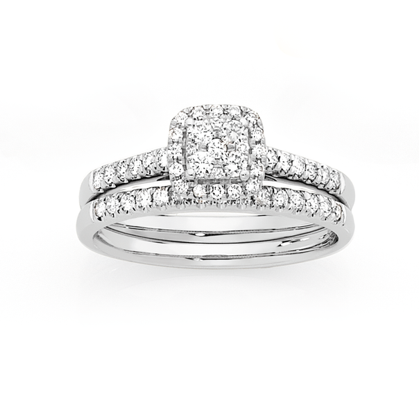 9ct White Gold Diamond Cluster Bridal Set