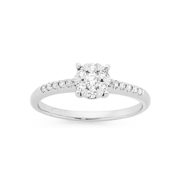 9ct White Gold Diamond Cluster Shoulder Ring