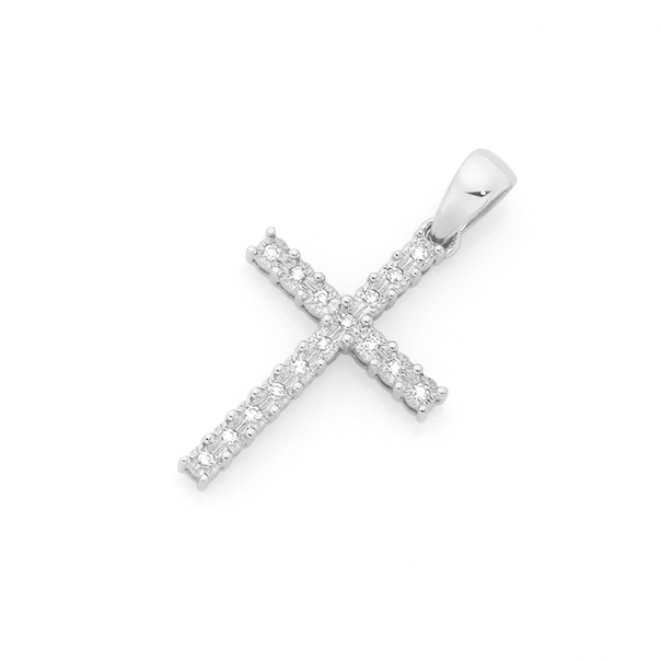 9ct White Gold Diamond Cross Pendant
