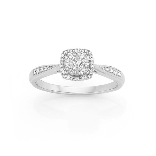 9ct White Gold Diamond Cushion Shape Ring