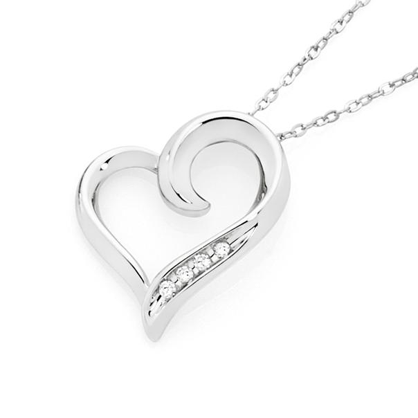 9ct White Gold Diamond Heart Pendant with White Gold Chain