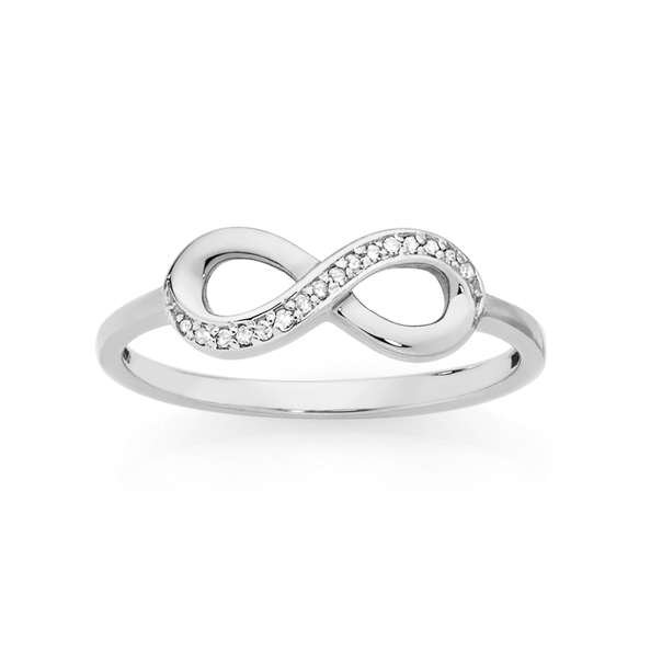 9ct White Gold Diamond Infinity Ring
