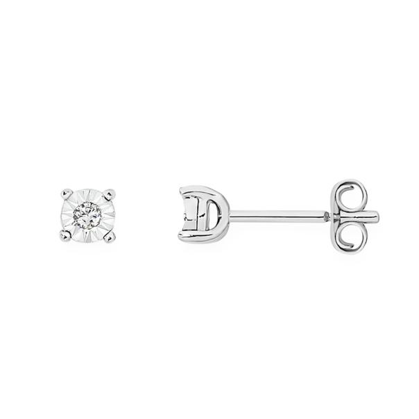 9ct White Gold Diamond Miracle Set Stud Earrings