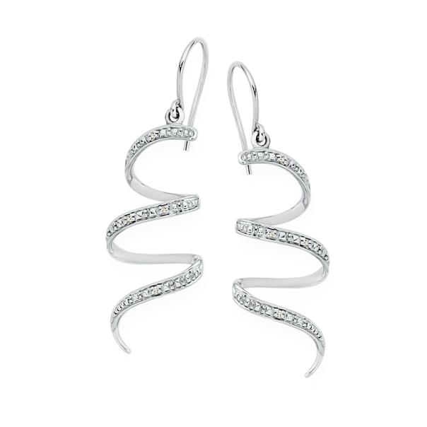 9ct White Gold Diamond Spiral Drop Earrings