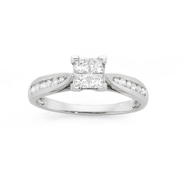 9ct White Gold Diamond Square Cluster Ring