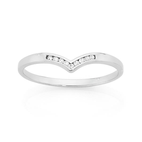 9ct White Gold Diamond 'V' Ring