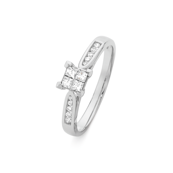 9ct White Gold Invisible Set Princess Cut Diamond Ring