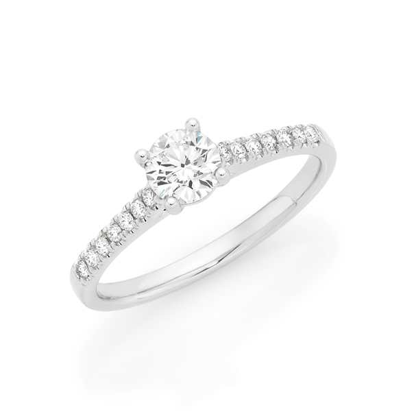 Alora by Goldmark 14ct White Gold Lab Grown Diamond Shoulder Solitaire Ring