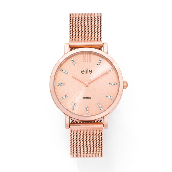 Elite Ladies Rose Tone Watch