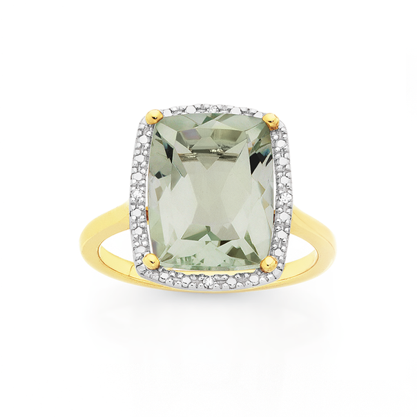 Manhattan G Cocktail Ring Collection - 9ct Gold Green Amethyst Long Cushion Shape Ring