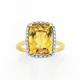 Manhattan G Cocktail Ring Collection - 9ct Gold Honey Quartz Long Cushion Shape Ring