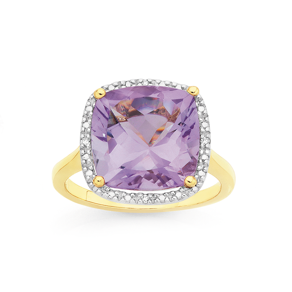Manhattan G Cocktail Ring Collection - 9ct Gold Pink Amethyst Cushion Shape Ring