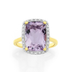 Manhattan G Cocktail Ring Collection - 9Ct Gold Pink Amethyst Long Cushion Shape Ring