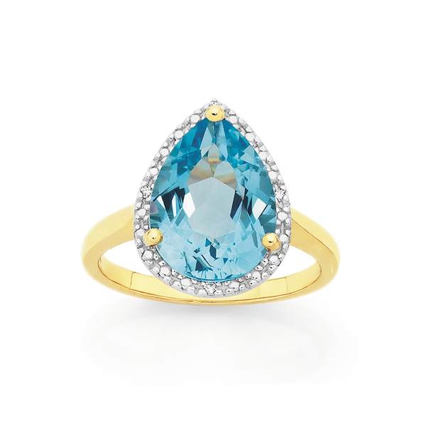 Manhattan G Cocktail Ring Collection- 9ct Gold Sky Blue Topaz Pear Shape Ring