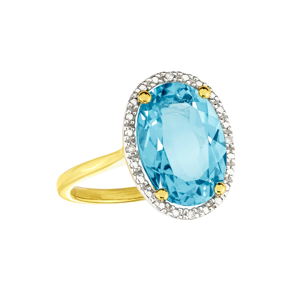 Manhattan G Cocktail Ring Collection- 9ct Gold Sky Blue Topaz Ring