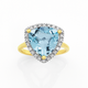 Manhattan G Cocktail Ring Collection - 9ct Gold Sky Blue Topaz Trillion Shape Ring
