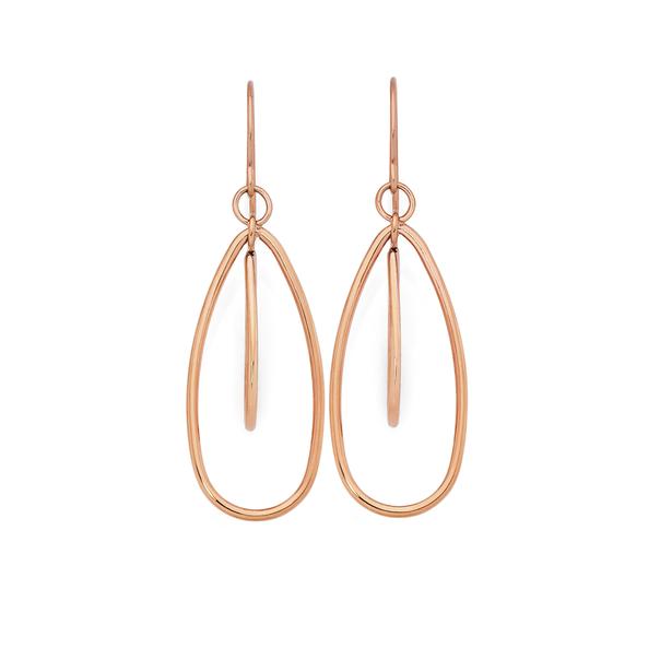 Rose Plated Steel 2 Open Pear Drop Earrings