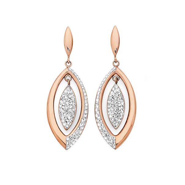 Rose Plated Steel Crystal 2 Marquise Drop Earrings