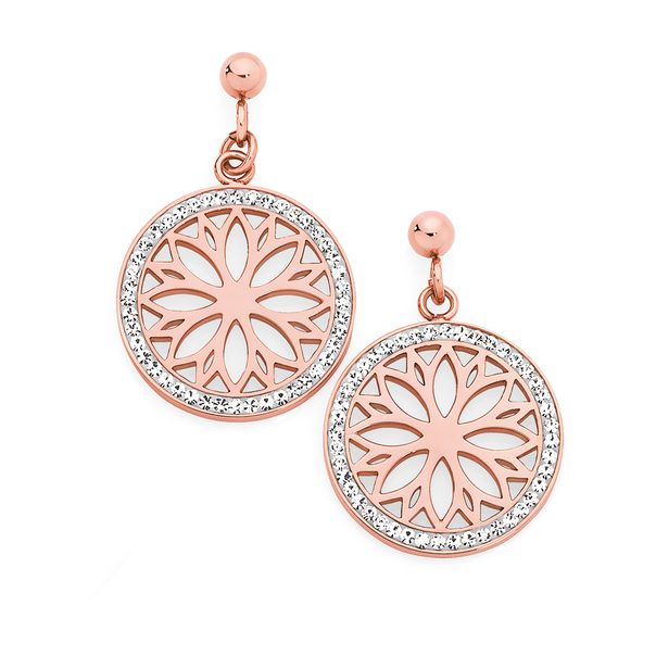 Rose Plated Steel Crystal Flower Centre Earrings