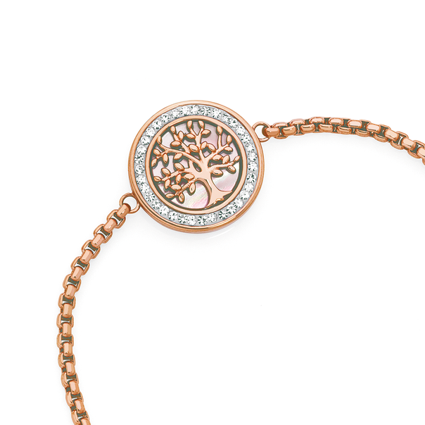 Rose Plated Steel Crystal & Pink Mother Of Pearl Round Tree Bracelet