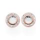 Rose Plated Steel Interchangeable Round Crystal Bezel Earrings