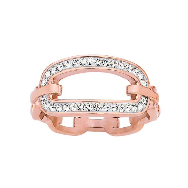 Rose Plated Steel Urban City Crystal Link Ring