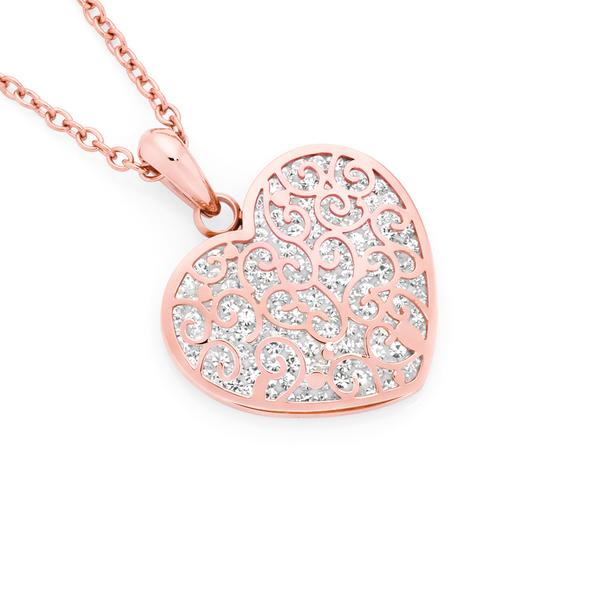 Rose Steel Crystal Heart Pendant