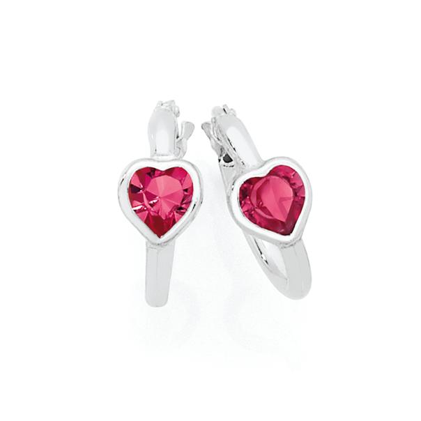 Silver 10mm Pink Crystal Heart Hoop Earrings