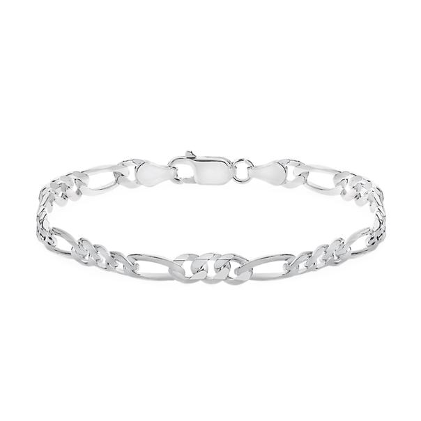 Silver 20cm 3+1 Figaro Bracelet