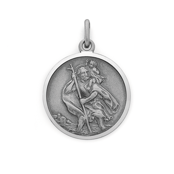 Silver 20mm St Christopher Medal Charm