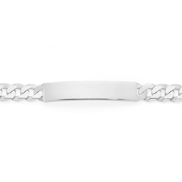 Silver 21cm Diamond Cut Flat Curb Identity Bracelet